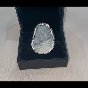 Natural stone Swarovski edged ring